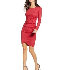 Leith long sleeve red ruched dress size 2X // 0465